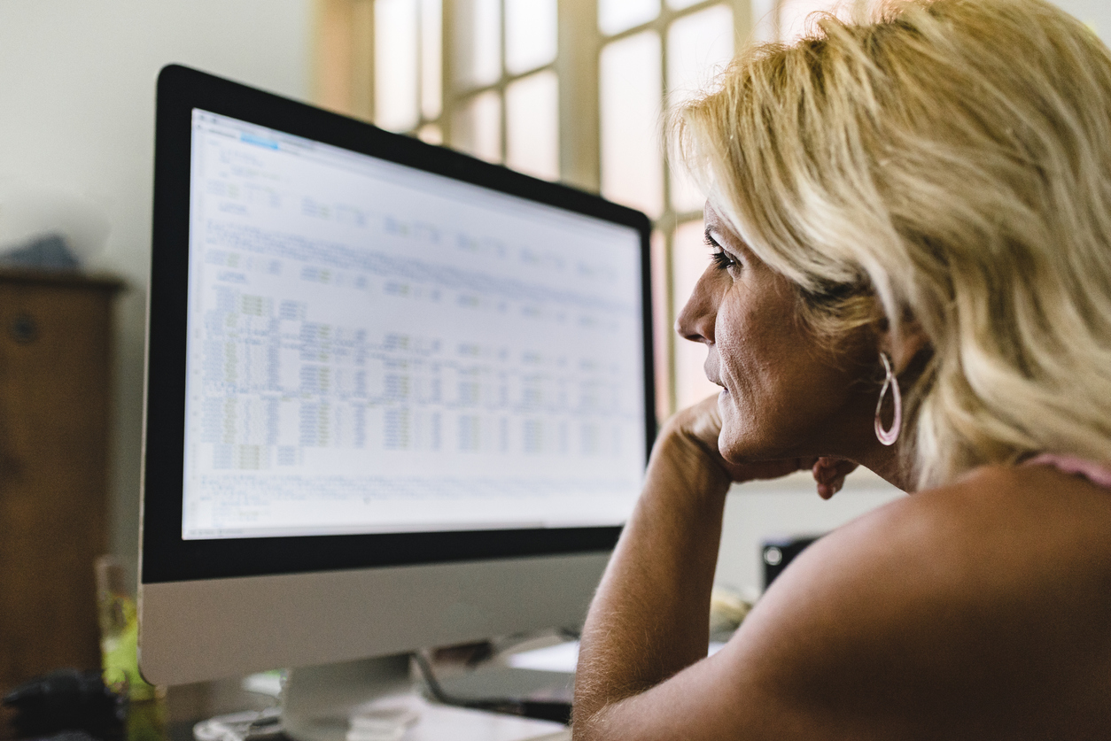 Woman working on programming codes